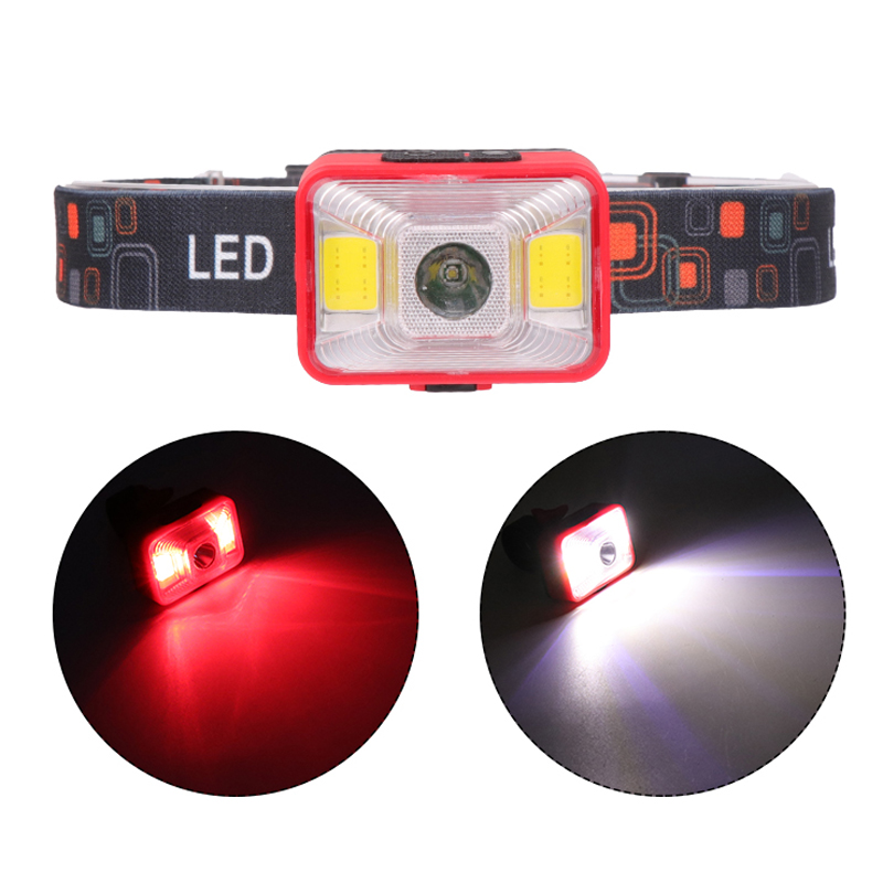 Multifunctional LED Headlight USB Rechargeable Mini Headlamp Bike Bicycle Cycling - Red