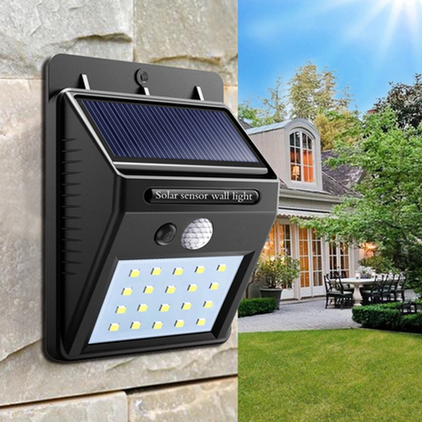 Solar Power 20 LED PIR Motion Sensor Waterproof Wall Light Security Lamp Outdoor Path Yard Garden