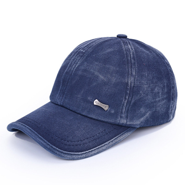 Unisex Adjustable Washed Cotton Blend baseball Cap Sports Hat Outdoor - Blue