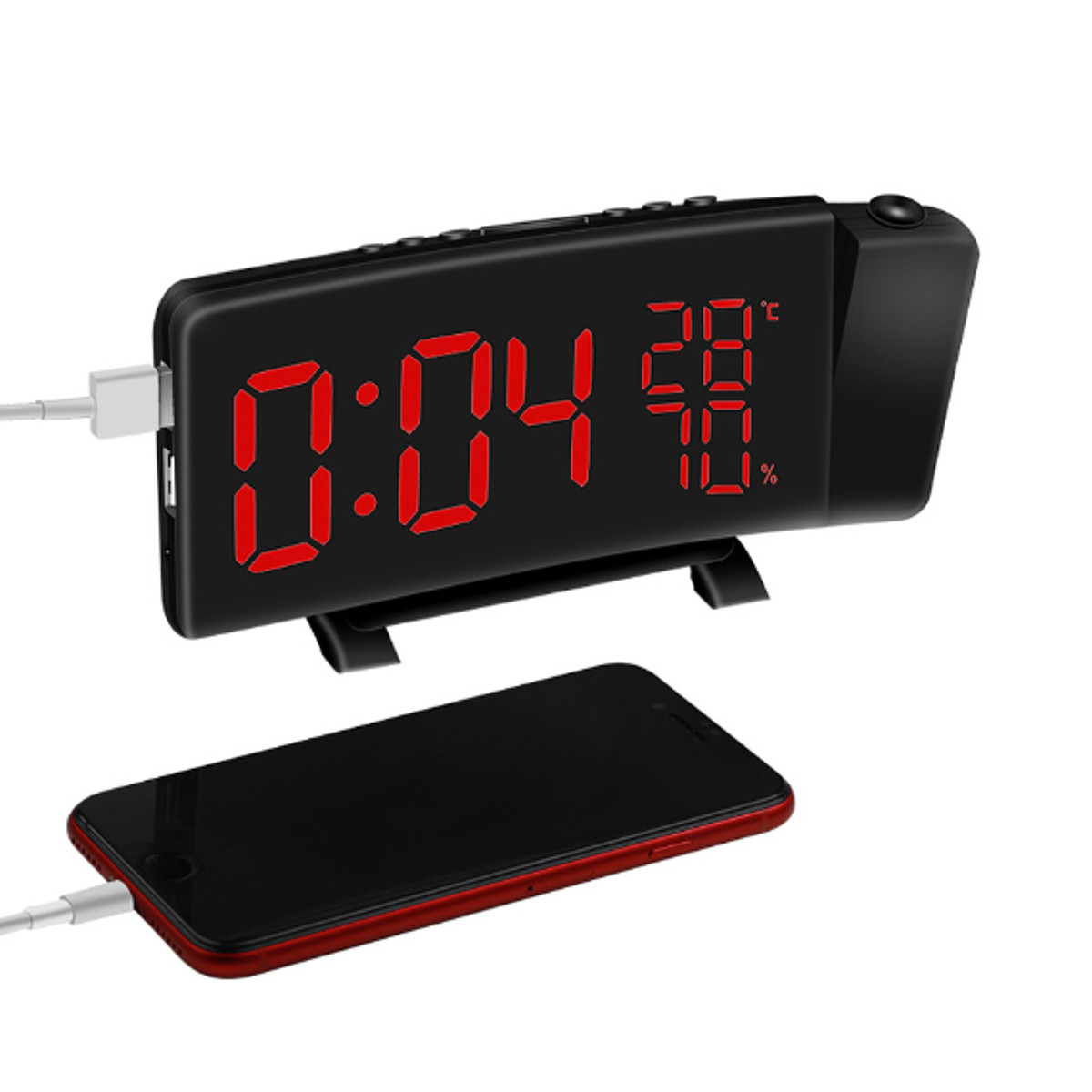 Three-Colour LED Projection Radio Clock Temperature Humidity