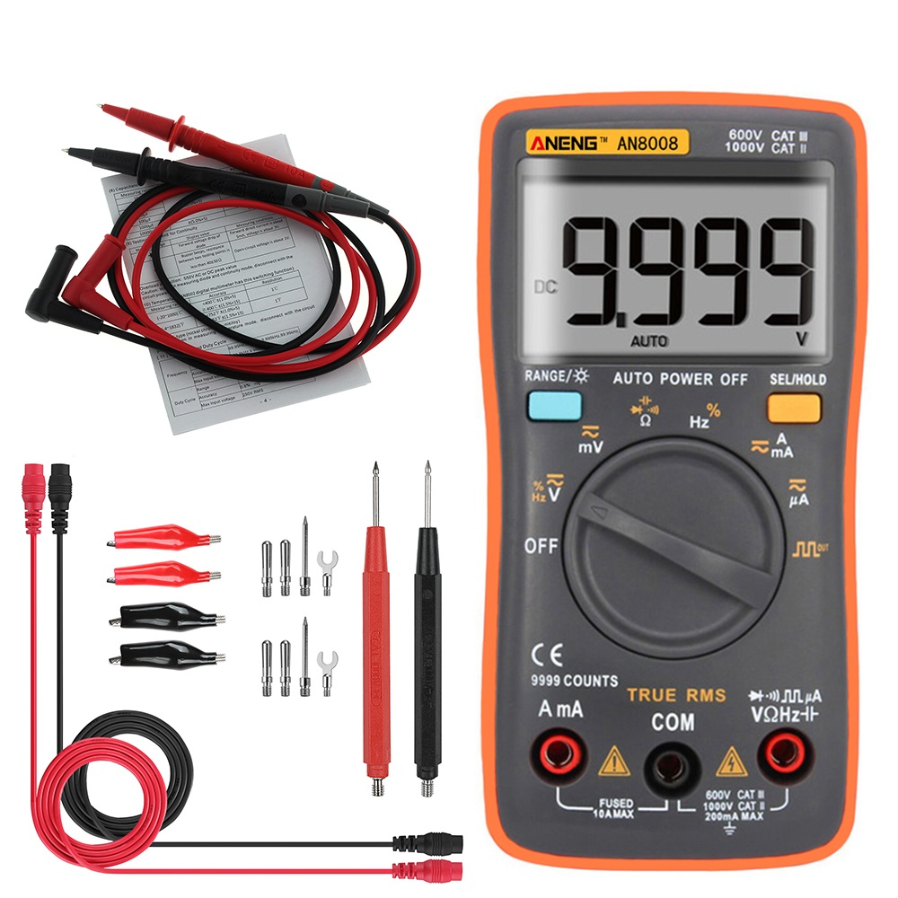 True RMS Wave Output Digital Multimeter Backlight AC DC Current Voltage Resistance