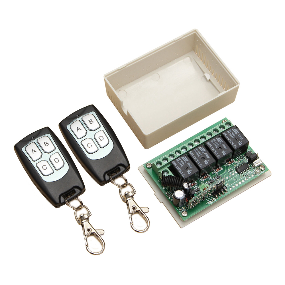 Wireless 12V 4CH Channel 315Mhz Remote Control Switch Module With 2 Transmitters