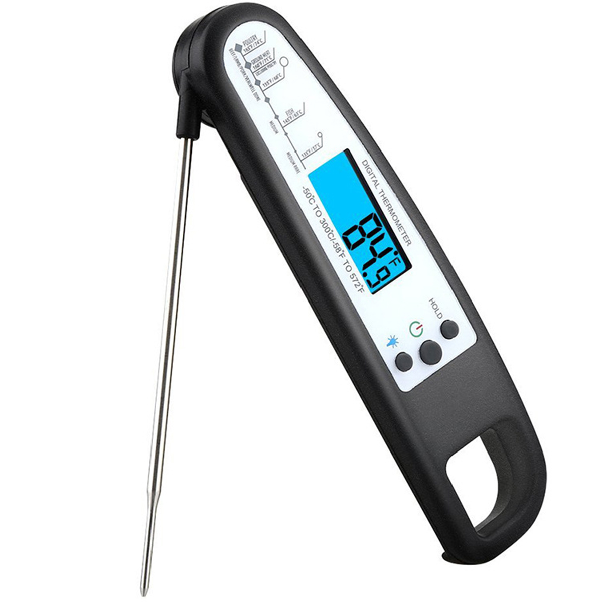 Digital Rotatable Instant Read Food Meat Thermometer w/ Probe for Cooking BBQ Grill Kitchen - Black