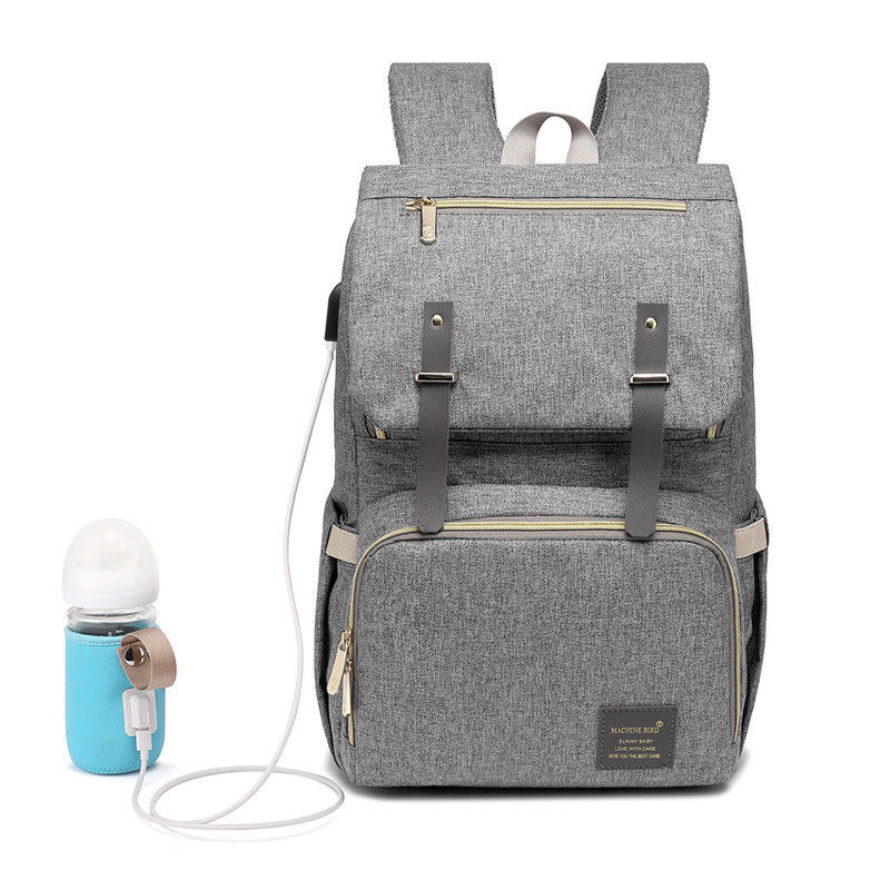 Waterproof Backpack USB Heating Baby Nappy Diaper Bag Mummy Bag - Light Gray