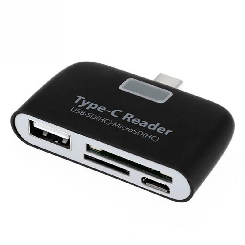 Multi Functional Type-c USB 3.1 Flash Memory Card OTG Card Reader Adapter for Mobile Phone  -Black