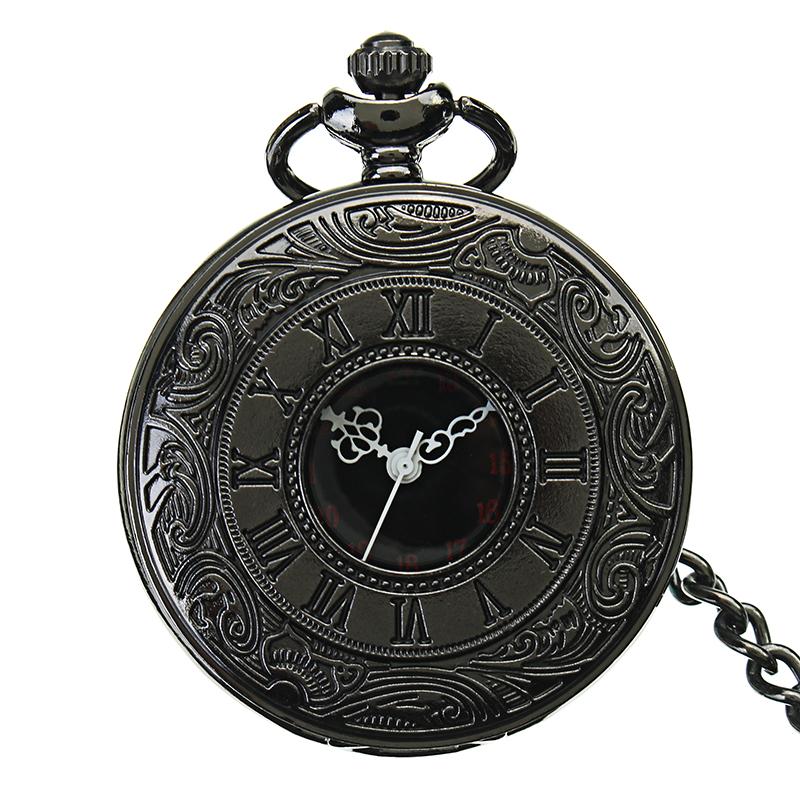 Vintage Hollow Roman Alloy Black Pocket Watch Quartz analog