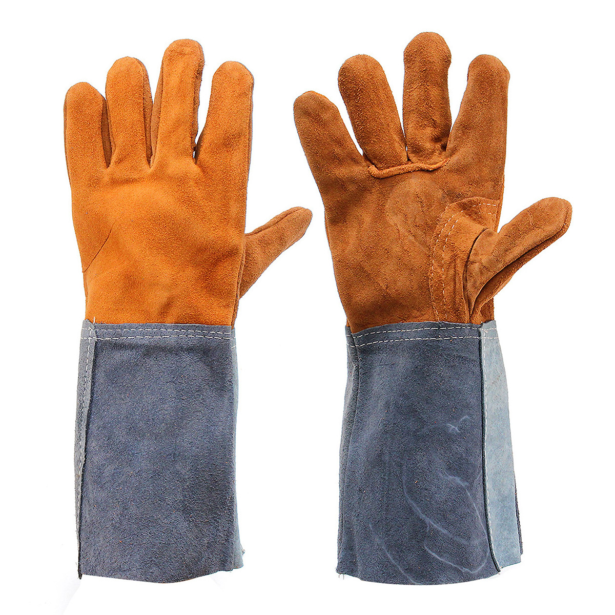 Welding Gloves Protective Thicken Welders Work Soft Palm Cowhide Leather Plus Gloves