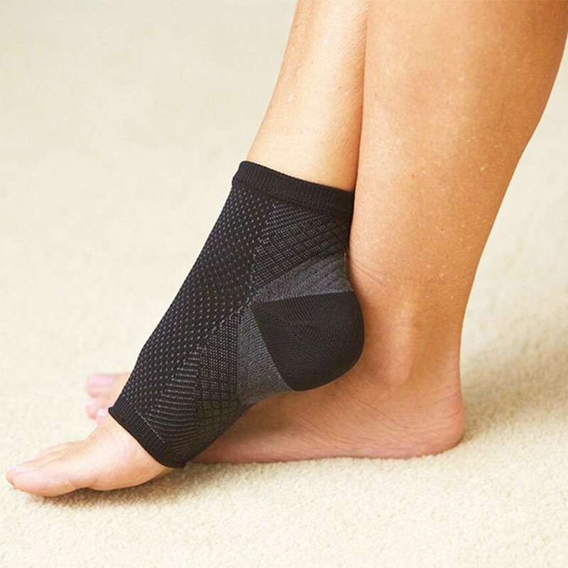 Anti Fatigue Angel Circulation Ankle Swelling Relief Sport Compression Foot Sleeve Socks - Black