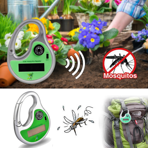 Portable Solar Power Sonic Wave Mosquito Repeller With Compass Garden Outdoor