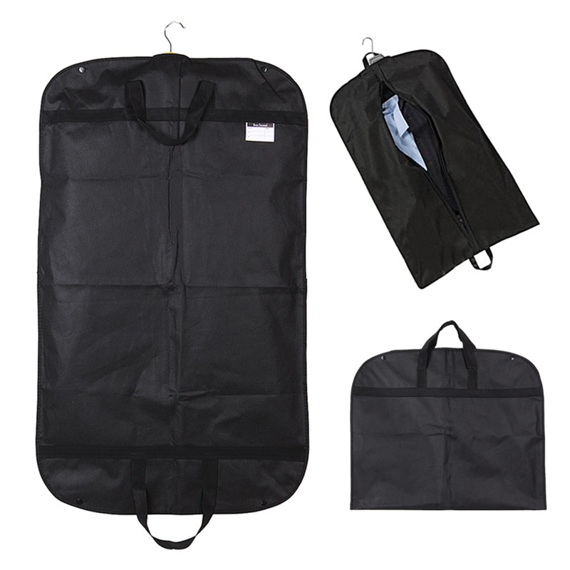 Portable Dust-proof Suit Dress Coat Garment Storage Travel Carrier Bag Hanger Protector Black