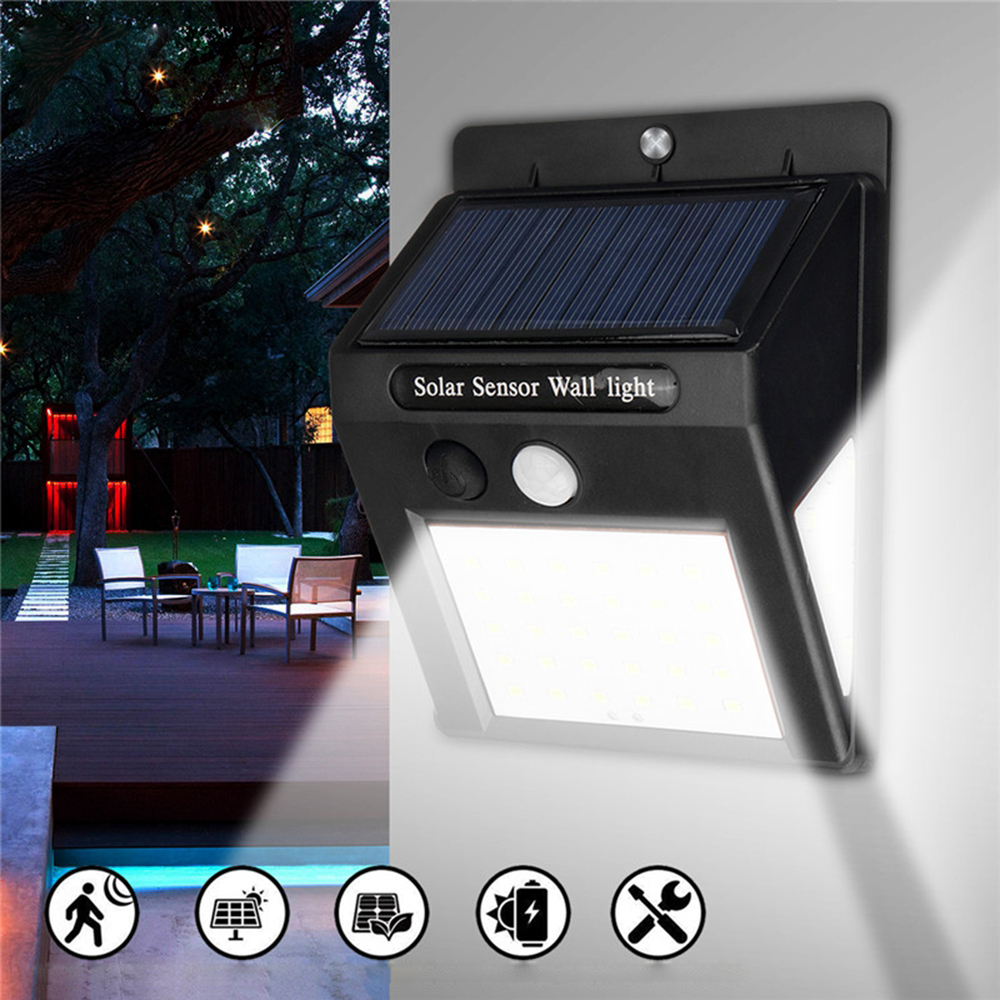 LED Solar Powered Motion Sensor PIR Light Garden Yard Wall Lamp Security Outdoor
