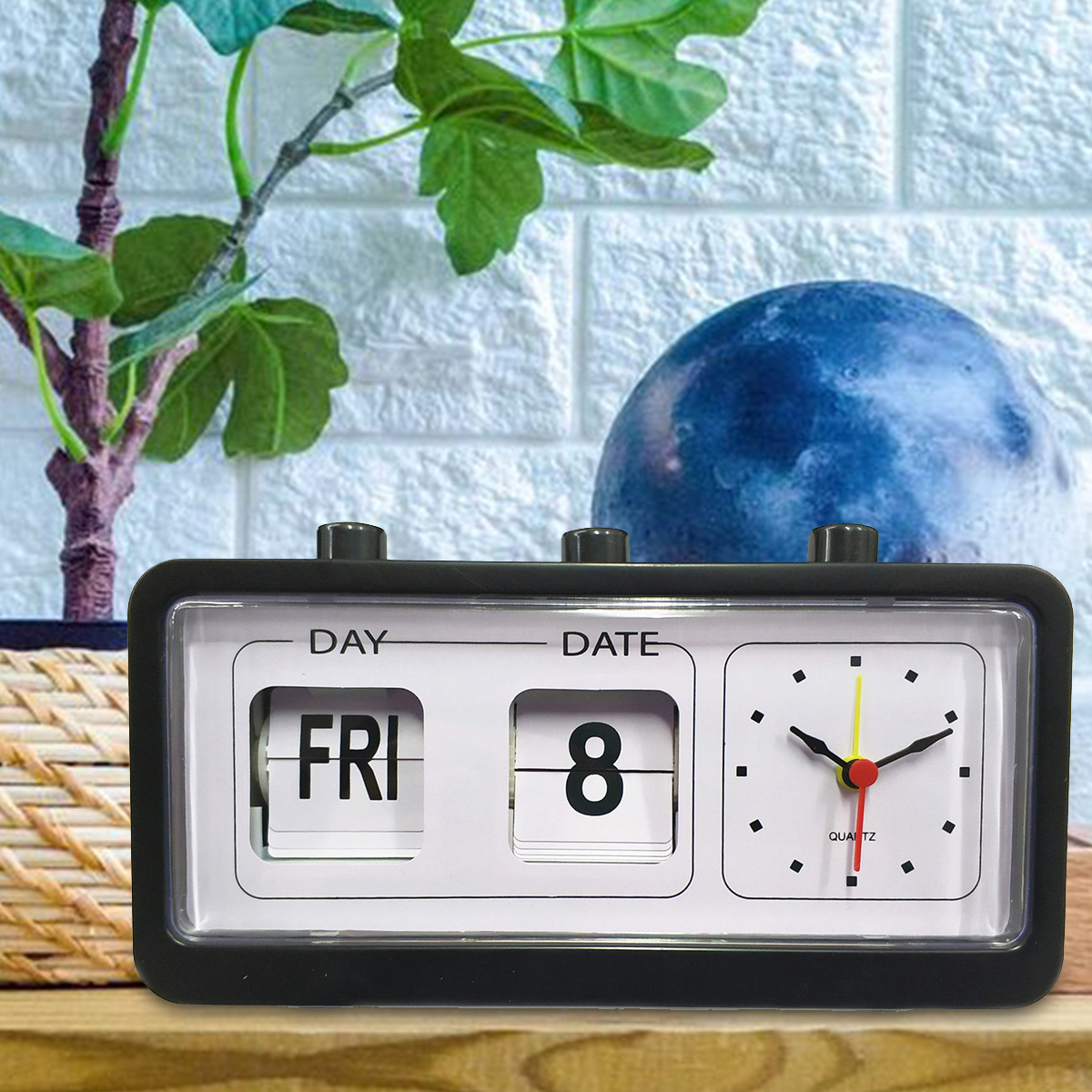 Digital Retro Quartz Alarm Clock Flip Display With Date & Time Black