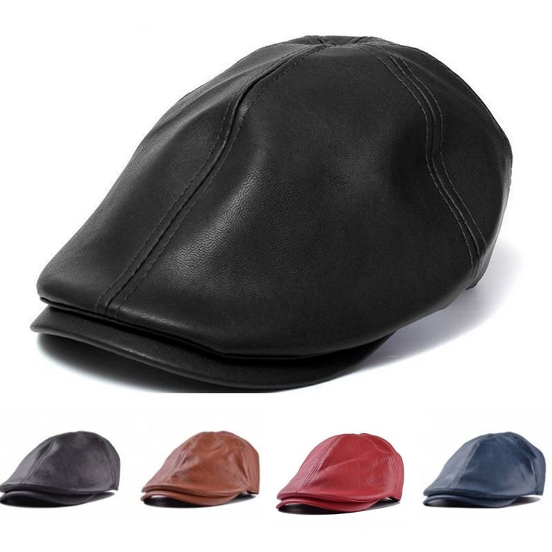 Unisex Artificial Leather PU Bonnet Newsboy Beret Cabbie Golf Hat Cap - Black