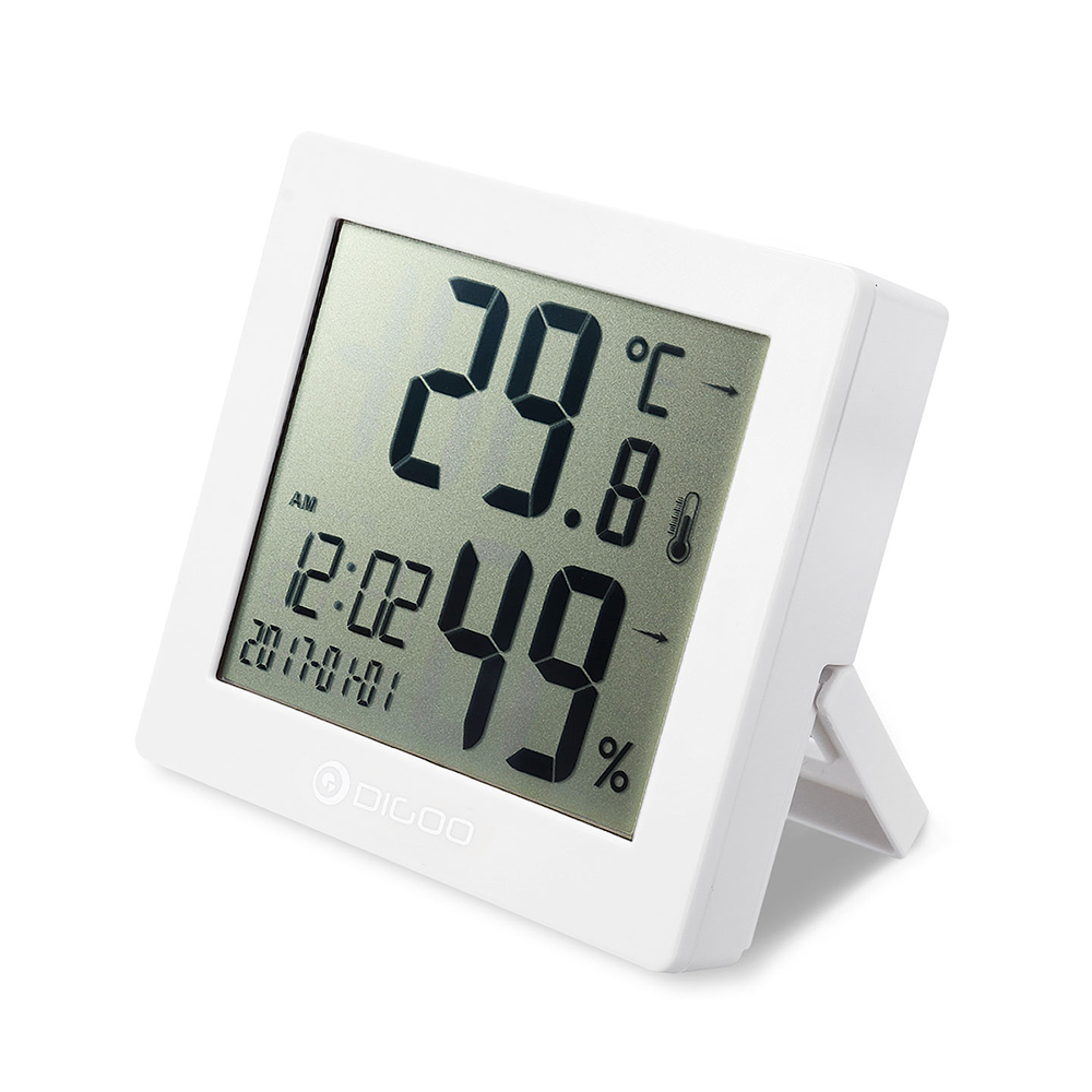 Digital Hygrometer Clock Thermometer Hourly Chime Calendar Daily Time Clock Alarm -White