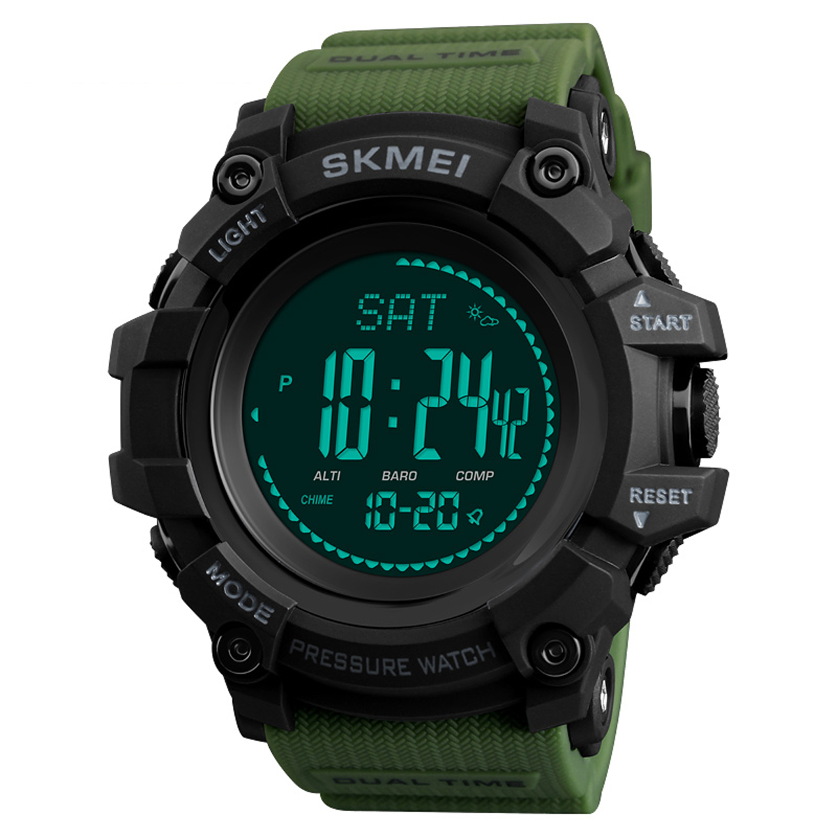 SKMEI 1358 3ATM Waterproof Smart Watch Pedometer Barometer - Green Colour