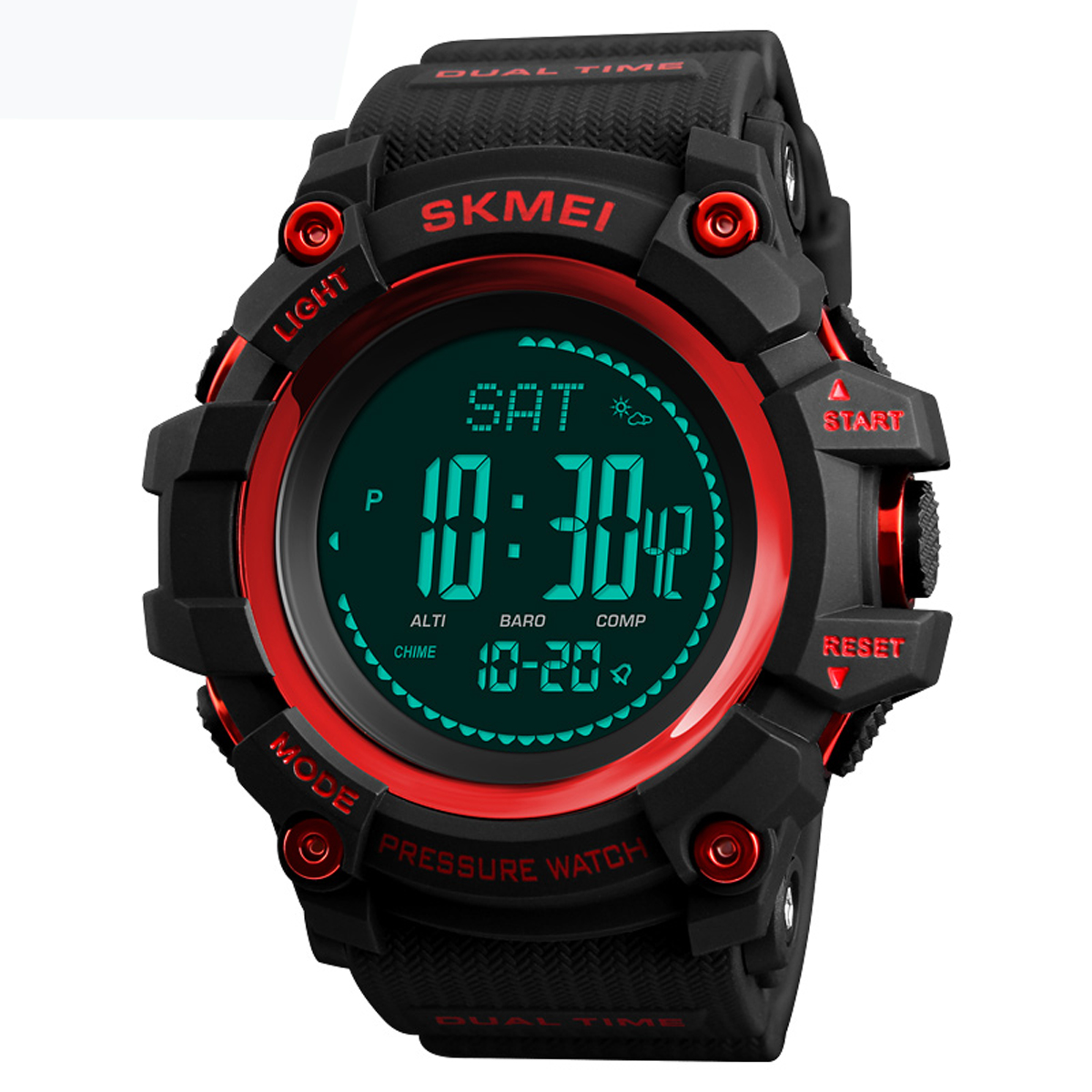 SKMEI 1358 3ATM Waterproof Smart Watch Pedometer Barometer - Red Colour