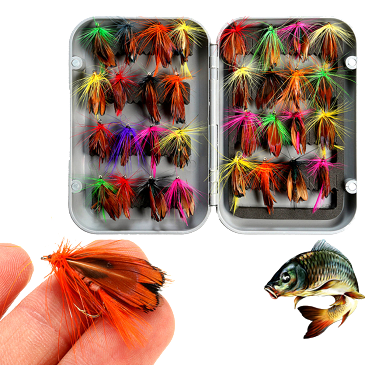 32pcs Mixed Trout Flies Lure Fly Fishing Tackle with Box Artificial Feather Mixcolor