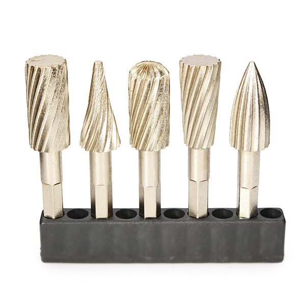 5pcs Hex Rotary Burr Set Head HSS Rotary File Cutter Electric Grinding Tool