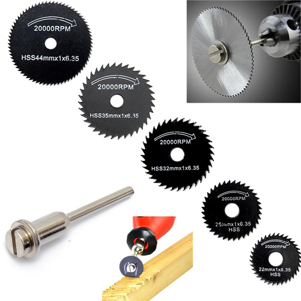 6pcs Metal Circular Saw Blade Set Cutting Discs for Rotary Tool Carving Work