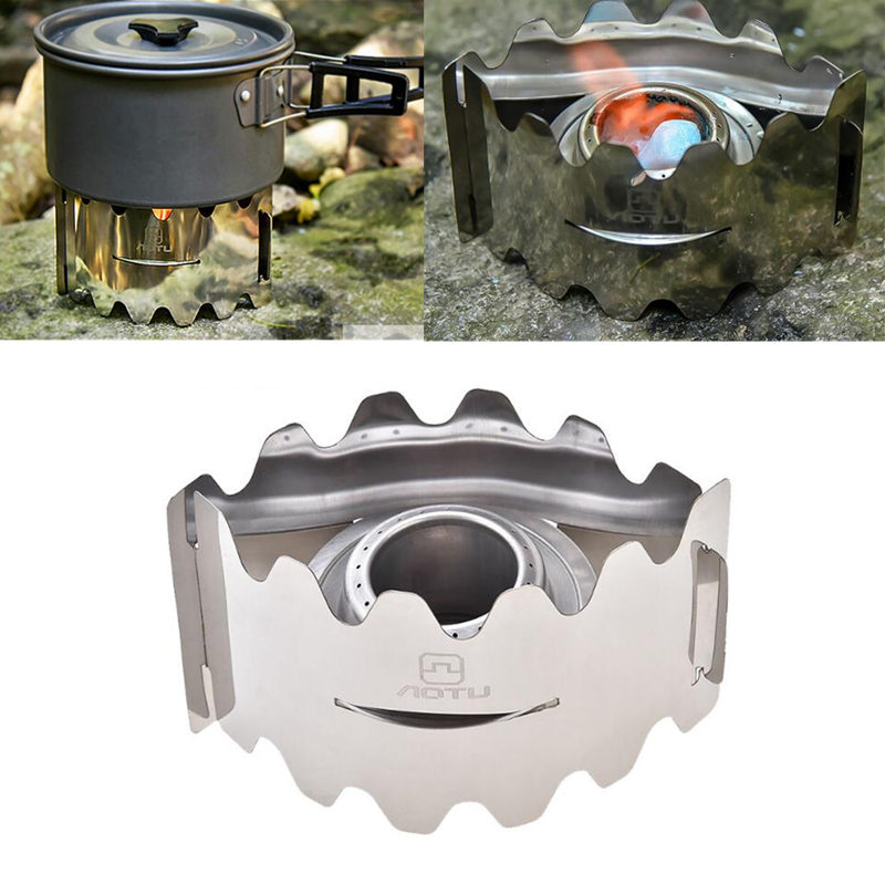 Foldable Outdoor Camping Mini Cooking Stove Alcohol Stove Set With Windshield