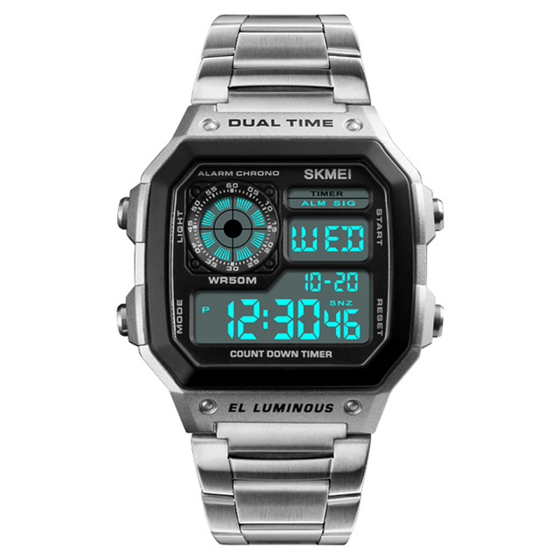 SKMEI 1335 Digital Watch Men Chronograph Alarm Watch Stainless Steel Watch - Silver