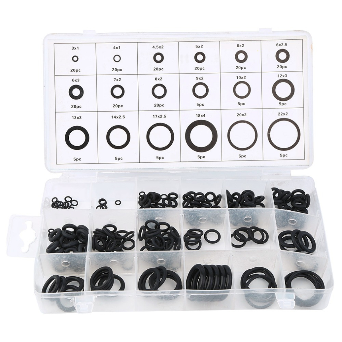 225Pcs Rubber O Ring Washer Hydraulic Plumbing Gasket Seal Assortment Set