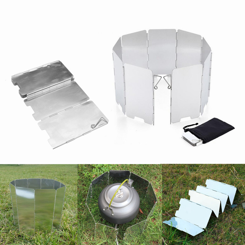 Foldable 9 Plates Aluminum Alloy Camping Gas Stove Wind Shield for Outdoor Camping Tools