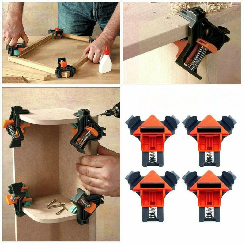 4pcs 90-Degree Right Angle Corner Clamp Clip Picture Frame Woodworking Tool