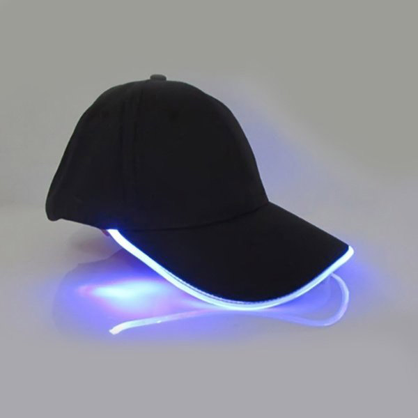 Punk Style LED Light Baseball Cap Luminous Cap Snapback Hat Fiber Optic Hat - Blue
