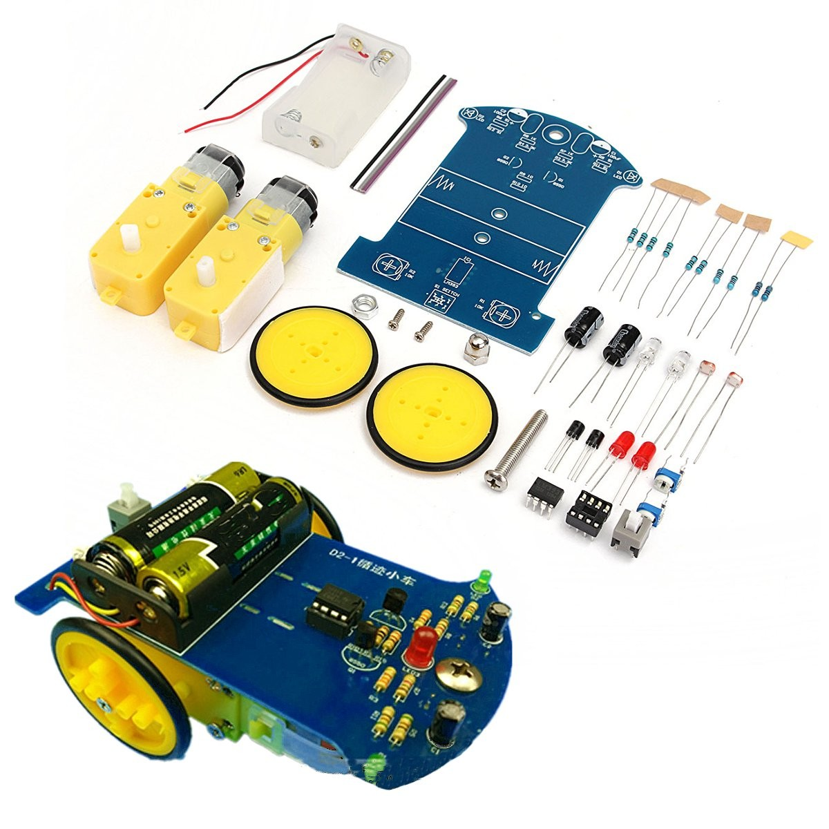 Smart Track Robot Car DIY Kit With Reduction Motor Set Battery Powered Toy