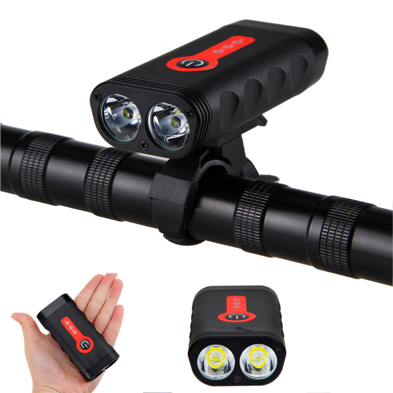 1800LM Rechargeable Battery 4400mAh Indicator Bike Light Waterproof IPX6