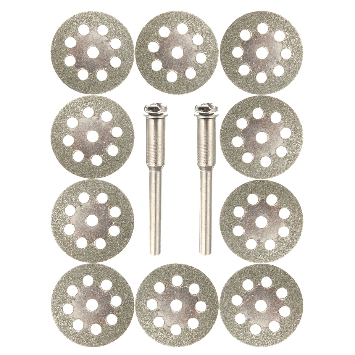 10pcs 22mm Diamond Coated Saw Blade Cutting Discs Tool with 2pcs Mandrel for Dremel
