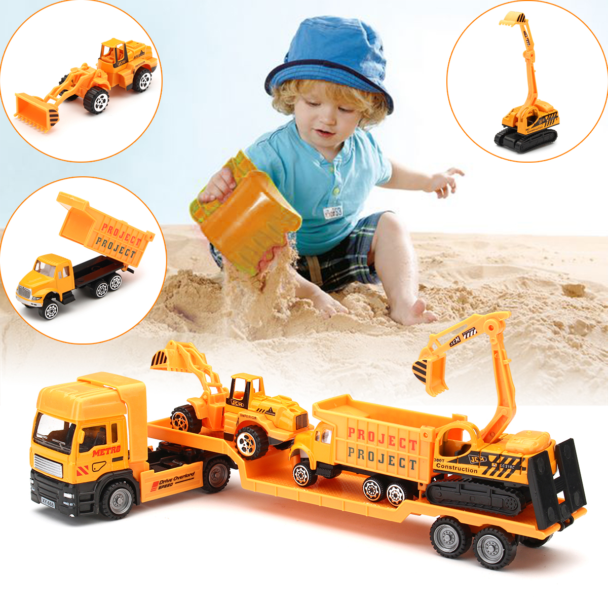 4-in-1 Recovery Vehicle Tow Truck Lorry Low Loader Diecast Model Toys Construction Kids