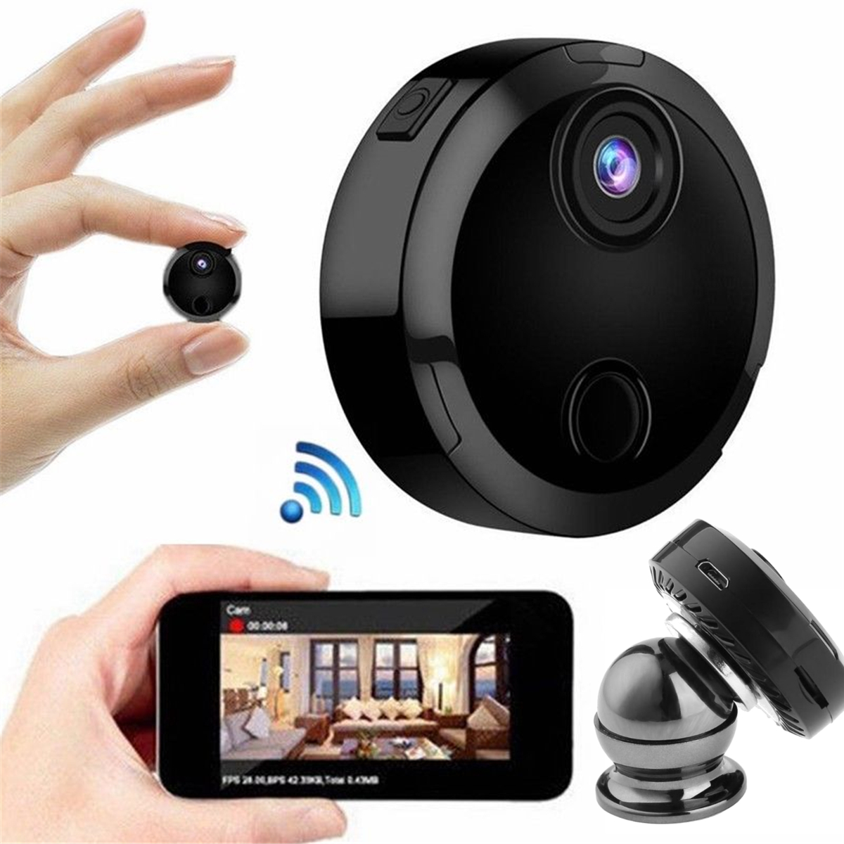 Mini HD 1080P WiFi IP Security Wireless  Camera Night Vision Home Security APP Control
