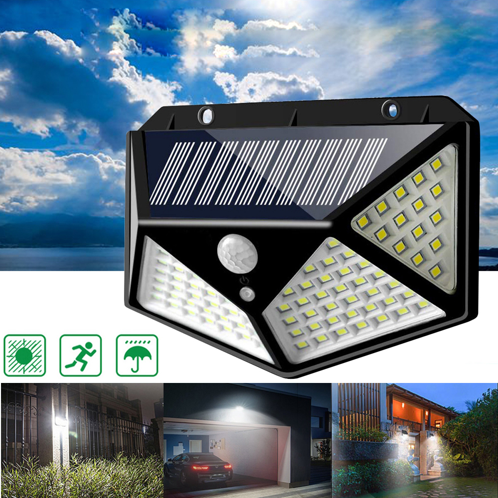 100 LEDs Solar Powered PIR Motion Sensor Wall Light Outdoor Garden Lamp 3 Modes