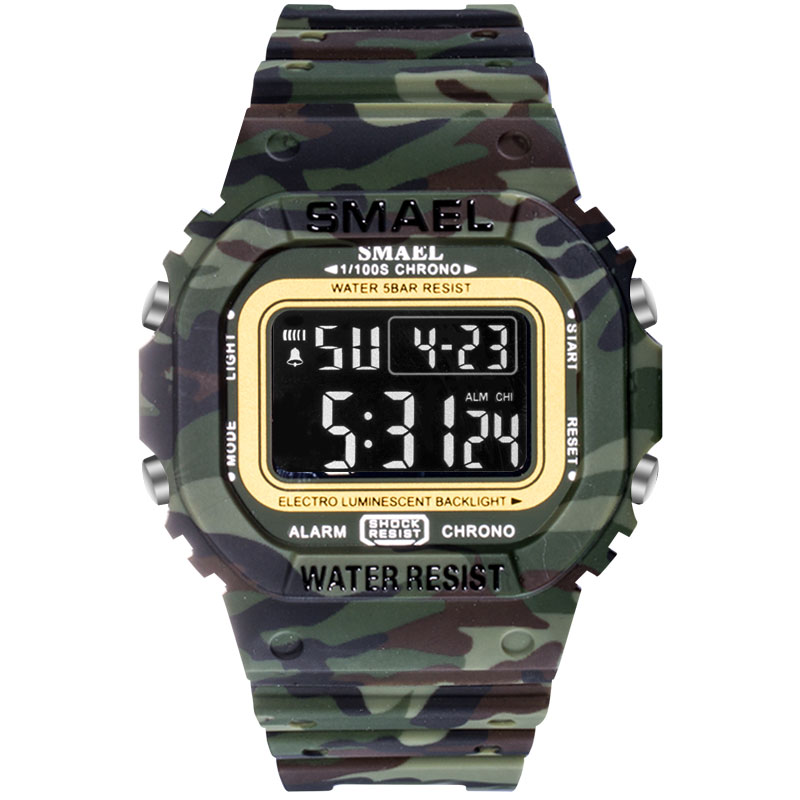 SMAEL 1801 Camouflage Cowboy Style Luminous 5ATM Digital Watch - 4. Woodland Camouflage