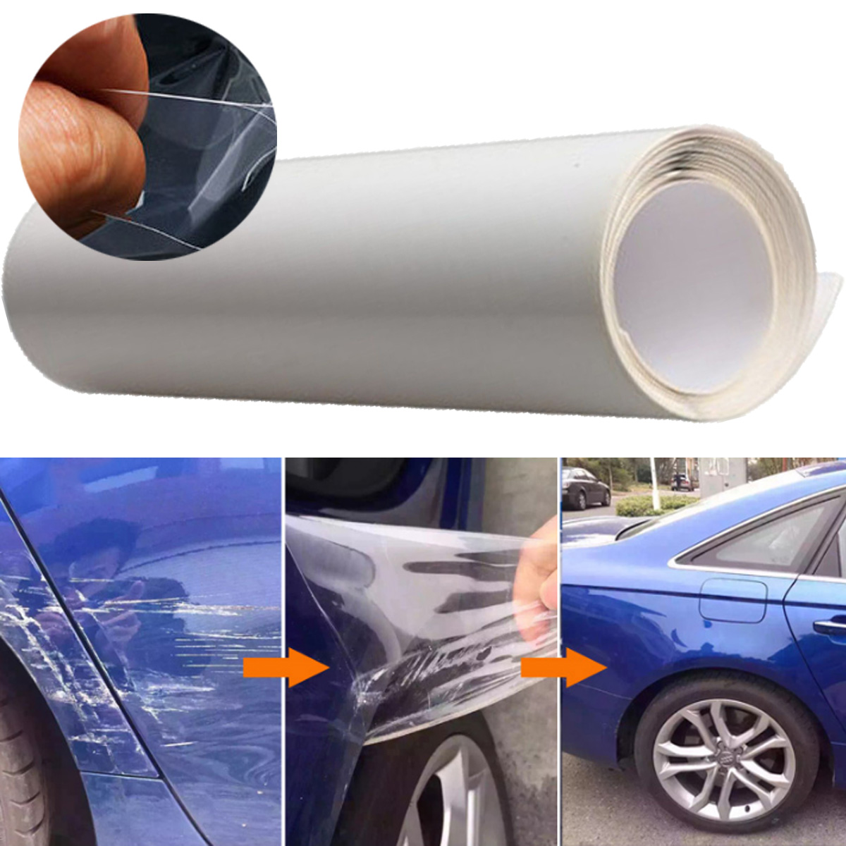 40x200cm Car Door Edge Protective Wrap Guard Film Transparent Sticker Cover Coat - Clear