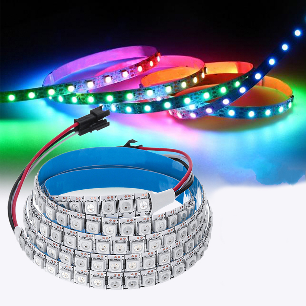DC5V 1M 144LED 5050SMD Strip Built-In IC WS2812B IP20 RGB Self-adhesive LED Strip Light