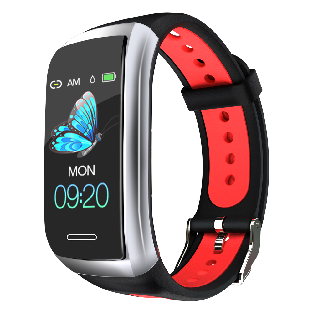1.14' Color Display Metal Bezel Heart Rate IP68  Smart Watch Band - Red