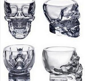 100ml Skull Glass Cup Vodka Whiskey Cup Creative Transparent Bar Glass - Clear