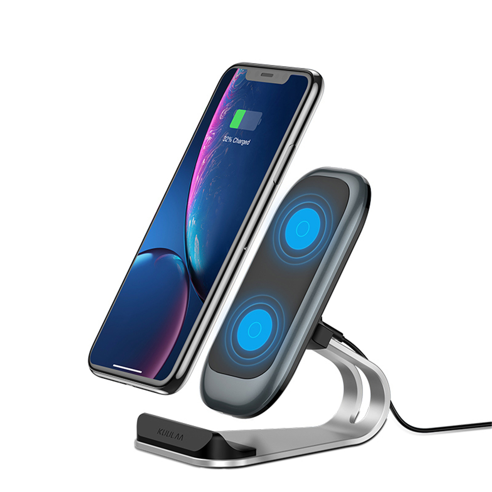 Fast Charging Qi Wireless Charger Dock Station Phone Holder - Blue