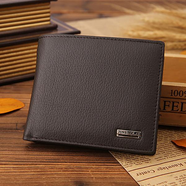 Men Genuine Leather Vintage Business Short Wallet Card Holder - Coffee
