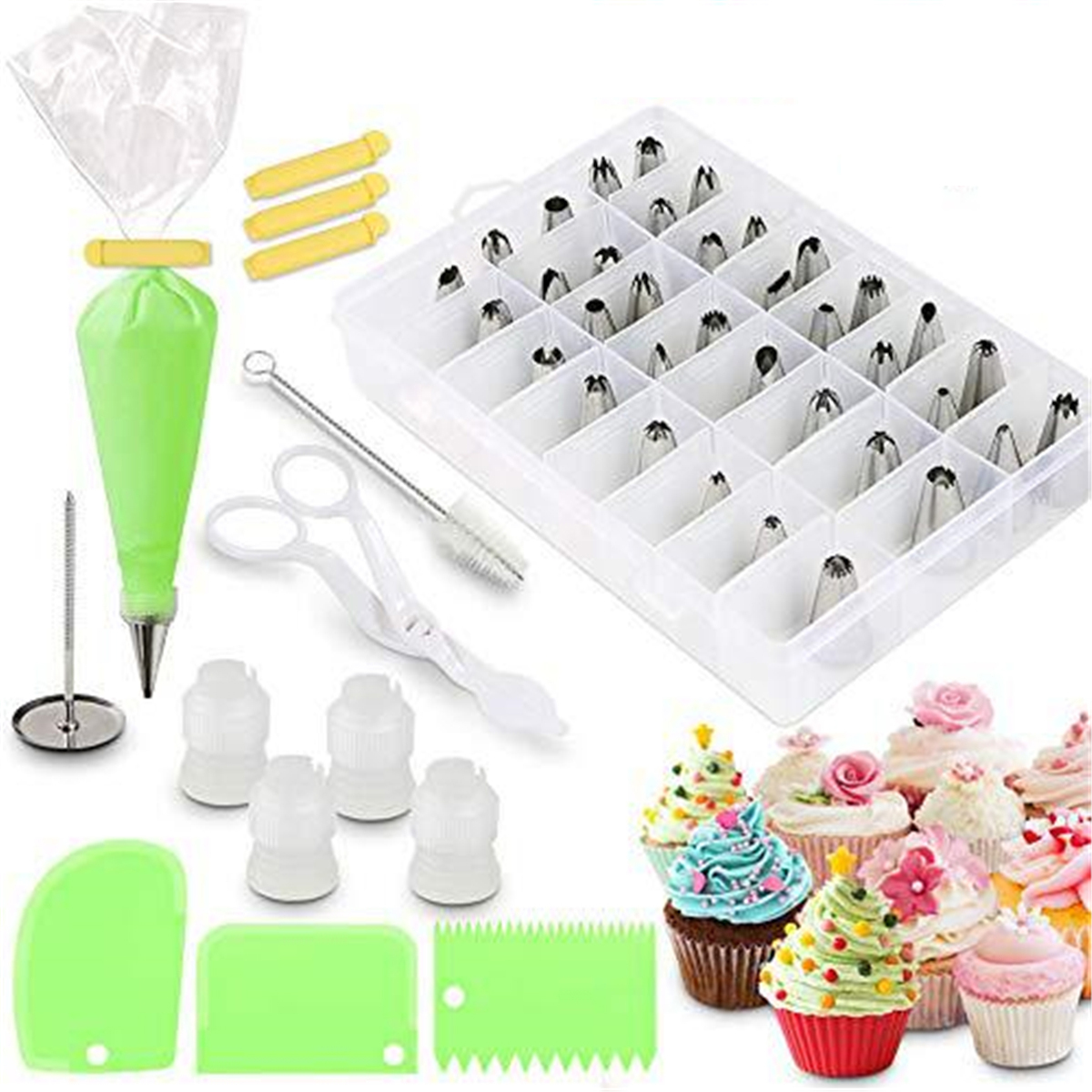 62pcs Cream DIY Icing Piping Tips Pastry Bags+Nozzle Decorating Baking Tool Mold