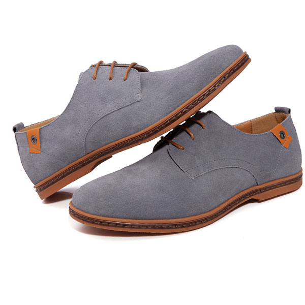 Mens Casual Fashion Business Gray Tide Leather Shoes Grey Colour ...