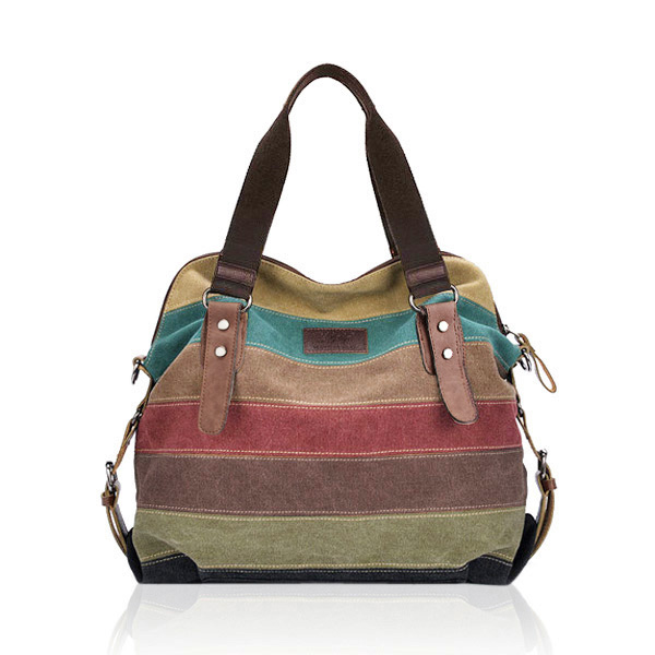 Women Casual Stripe Canvas Handbags Shoulder Bags
