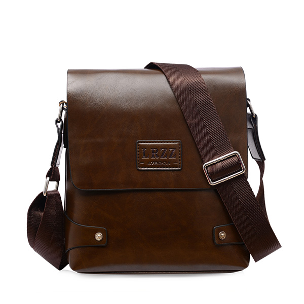 Men PU Business Shoulder Casual Briefcase Crossbody bag Deep Brown Colour