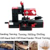 6 In 1 Multi Functions Metal Mini Wood Lathe Motorized Jig-saw Grinder Driller for Sawing and Sanding