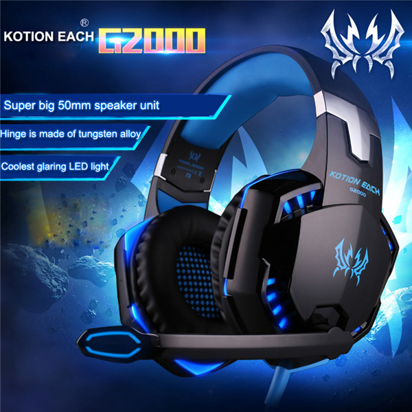 Pro Gamer USB LED Headset Headphone Blue Colour + Mic LoL Starcraft DOTA2 Diablo WoW