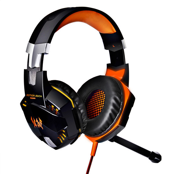 Pro Gamer USB LED Headset Headphone Orange Colour + Mic LoL Starcraft DOTA2 Diablo WoW