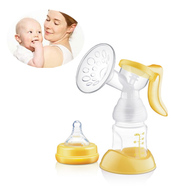 150ML Manual Breast Pump With Milk Bottle Yellow Colour